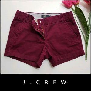 J.Crew Women's Flat Front Chino Short Sz 8 Magenta